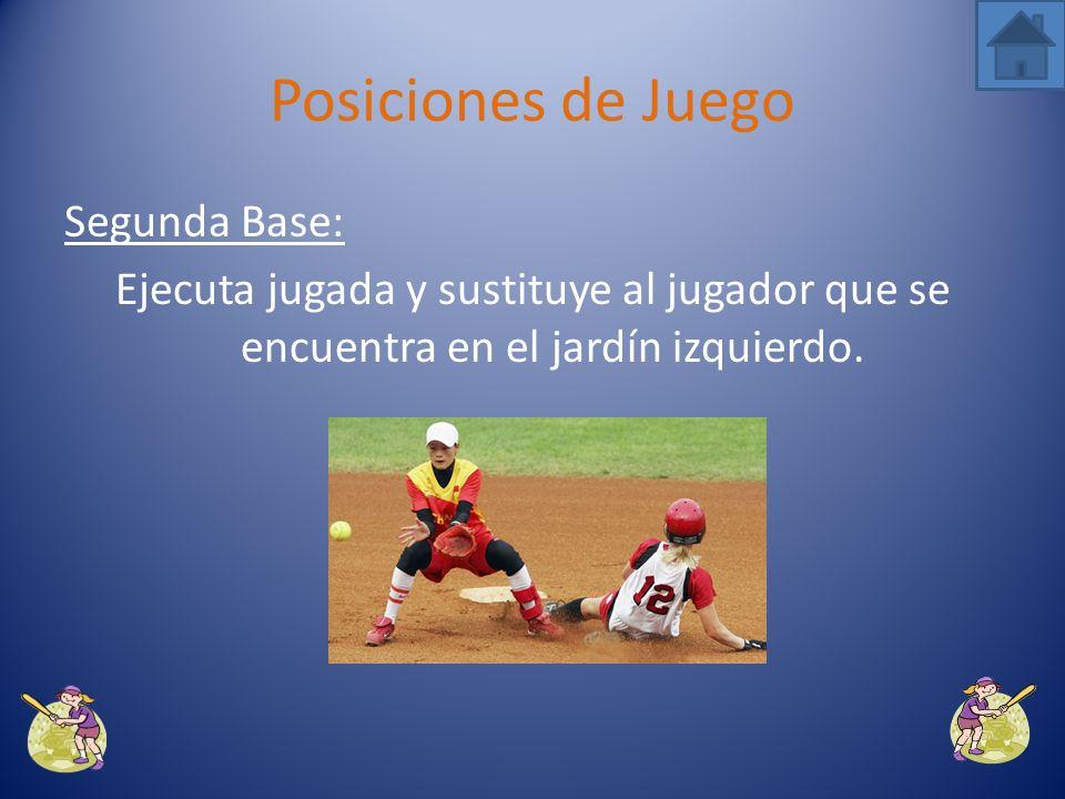 Posiciones de Juego Segunda Base: Ejecuta jugada y sustituye al jugador que se encuentra en el jardín izquierdo.