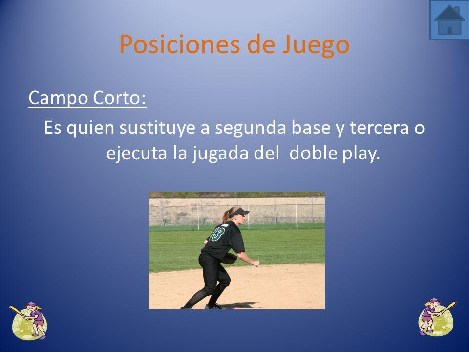 Posiciones de Juego Campo Corto: Es quien sustituye a segunda base y tercera o ejecuta la jugada del doble play.
