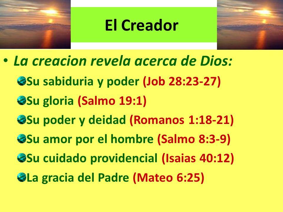 El Creador La creacion revela acerca de Dios: