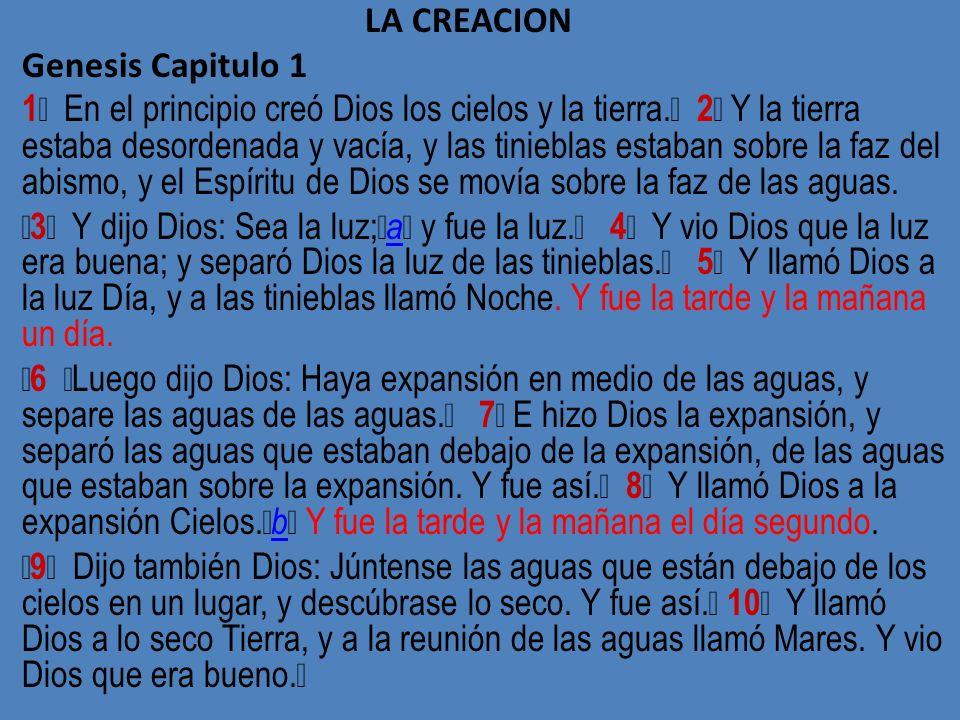 LA CREACION Genesis Capitulo 1.