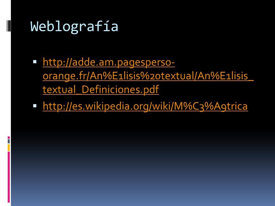 Weblografía http://adde.am.pagesperso- orange.fr/An%E1lisis%20textual/An%E1lisis_ textual_Definiciones.pdf.