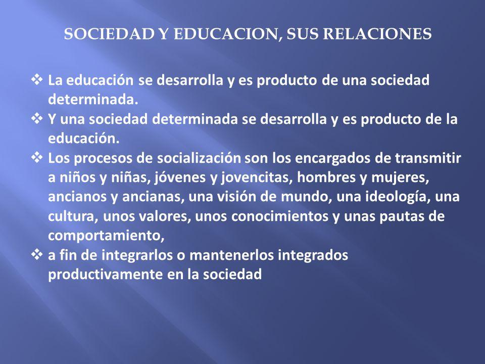 SOCIEDAD Y EDUCACION, SUS RELACIONES
