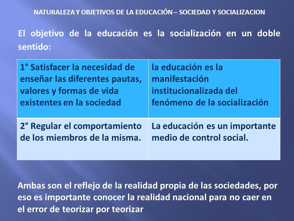 NATURALEZA Y OBJETIVOS DE LA EDUCACIÓN – SOCIEDAD Y SOCIALIZACION