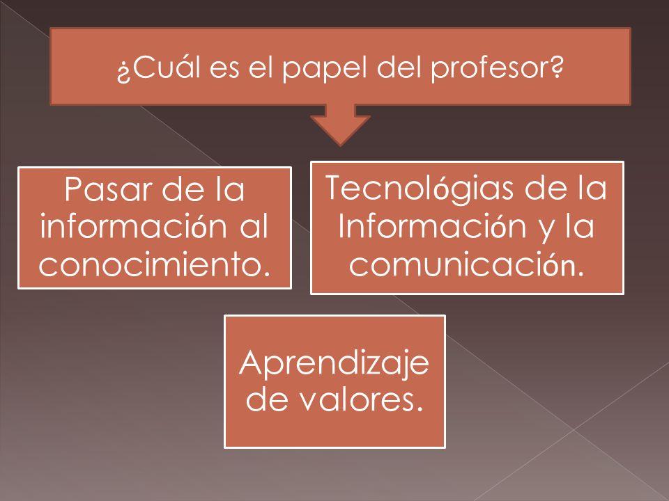 Pasar de la información al conocimiento.