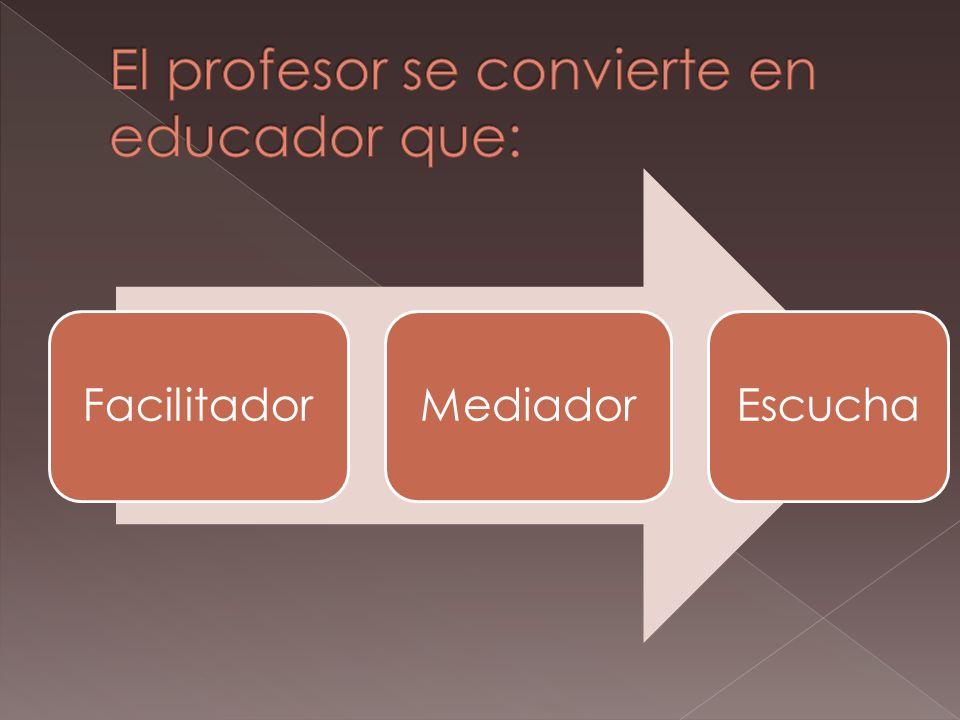El profesor se convierte en educador que: