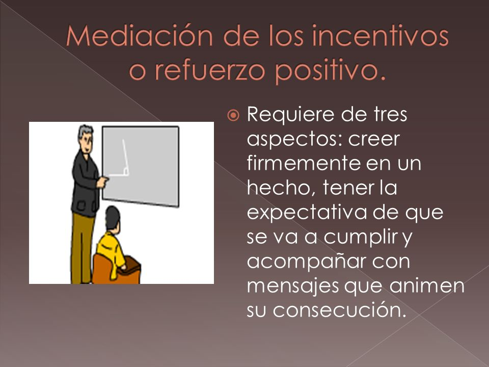 Mediación de los incentivos o refuerzo positivo.