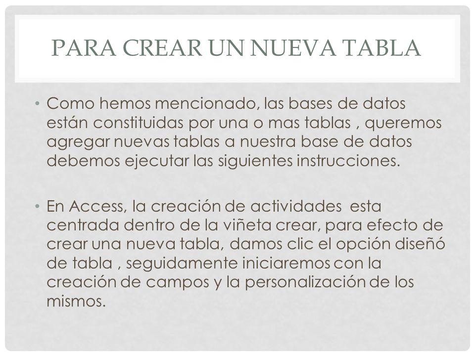 Para crear un nueva tabla