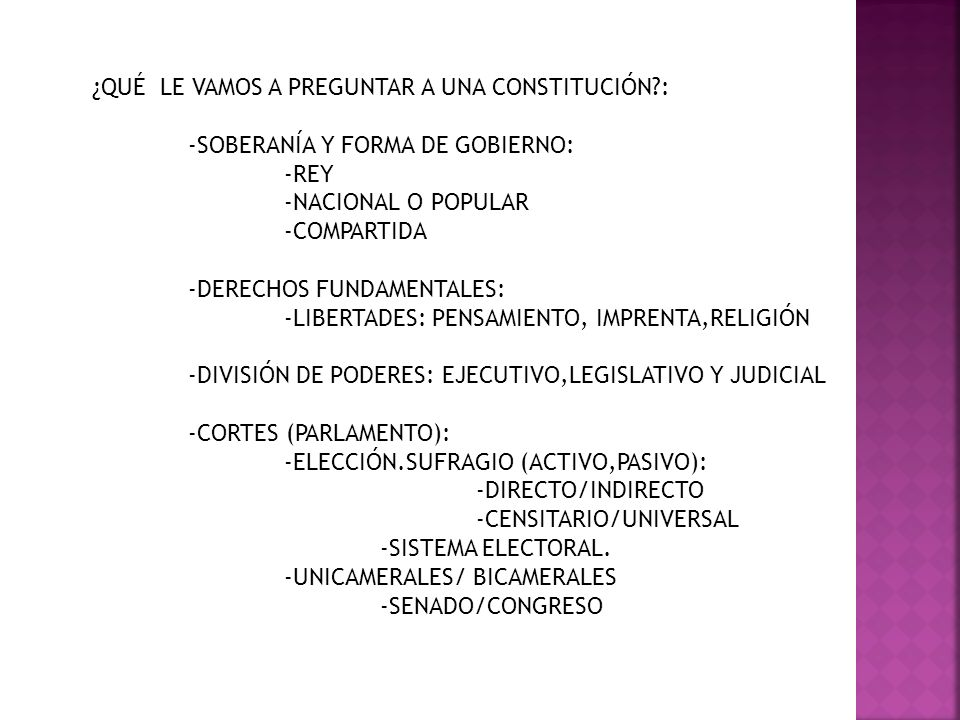 ¿QUÉ LE VAMOS A PREGUNTAR A UNA CONSTITUCIÓN :