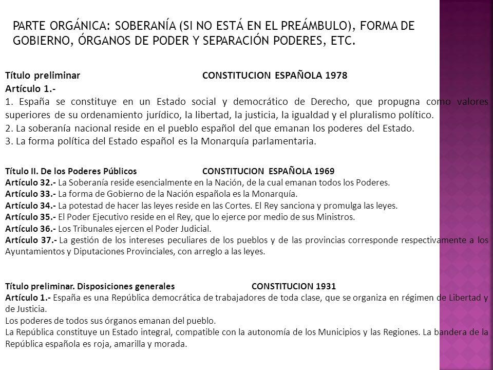 PARTE ORGÁNICA: SOBERANÍA (SI NO ESTÁ EN EL PREÁMBULO), FORMA DE GOBIERNO, ÓRGANOS DE PODER Y SEPARACIÓN PODERES, ETC.