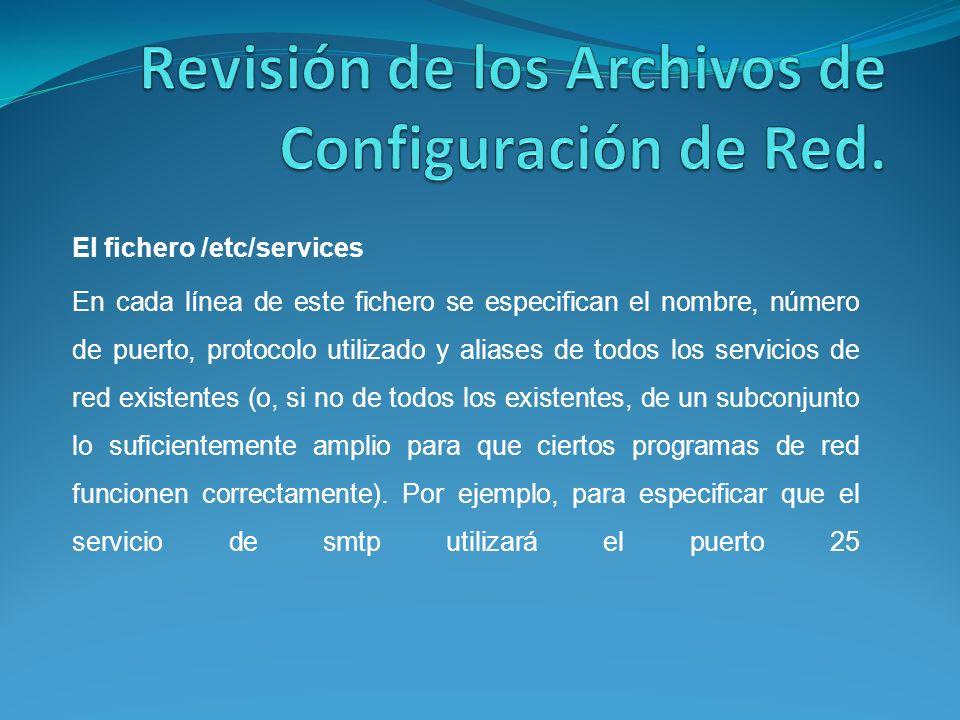 Revisión de los Archivos de Configuración de Red.