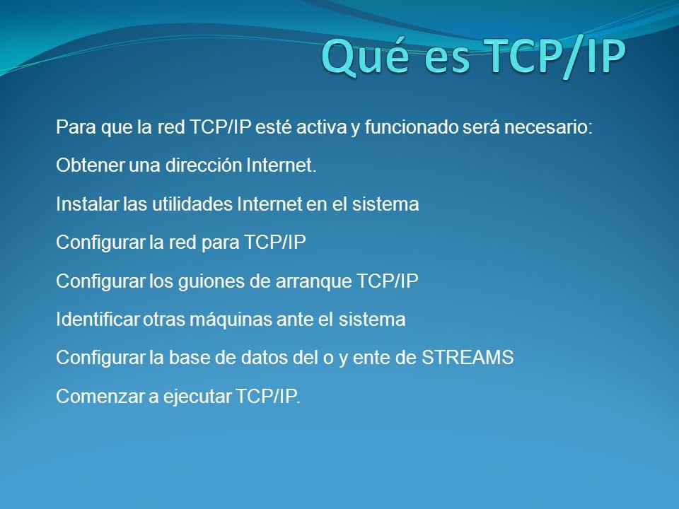 Qué es TCP/IP Para que la red TCP/IP esté activa y funcionado será necesario: Obtener una dirección Internet.