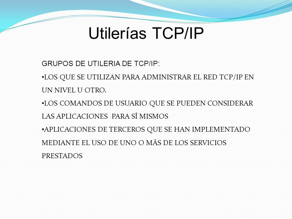 Utilerías TCP/IP GRUPOS DE UTILERIA DE TCP/IP: