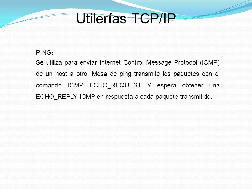 Utilerías TCP/IP PING: