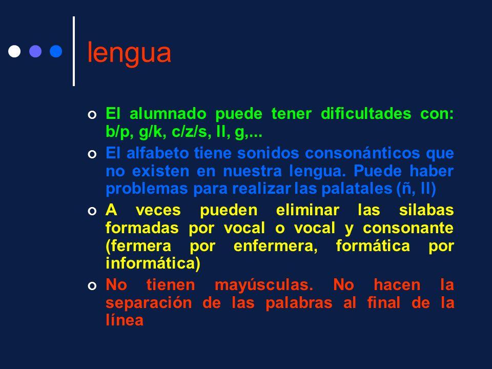 lengua El alumnado puede tener dificultades con: b/p, g/k, c/z/s, ll, g,...