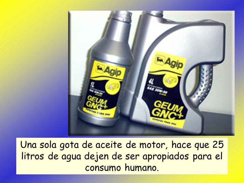 Una sola gota de aceite de motor, hace que 25 litros de agua dejen de ser apropiados para el consumo humano.