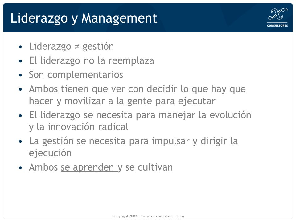 Liderazgo y Management