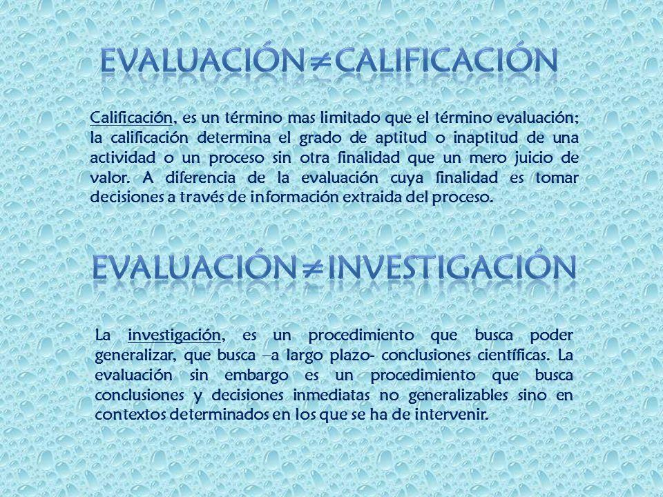 Evaluación≠calificación Evaluación≠investigación
