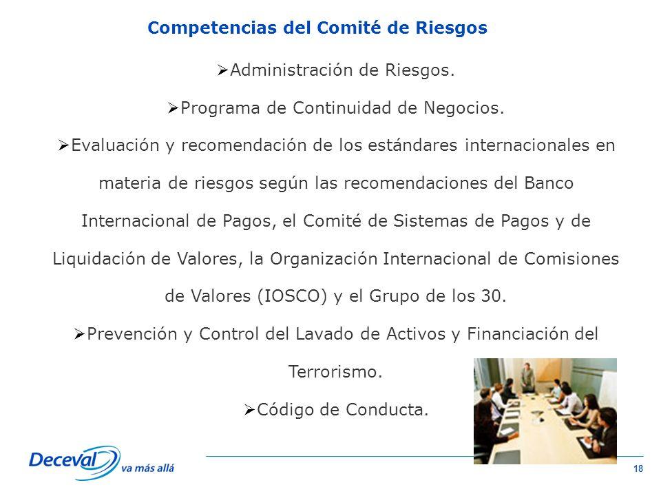 Competencias del Comité de Riesgos