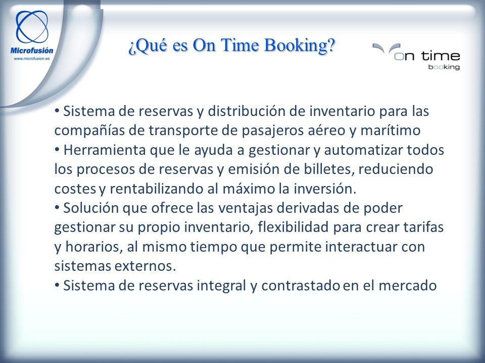 ¿Qué es On Time Booking Sistema de reservas y distribución de inventario para las compañías de transporte de pasajeros aéreo y marítimo.