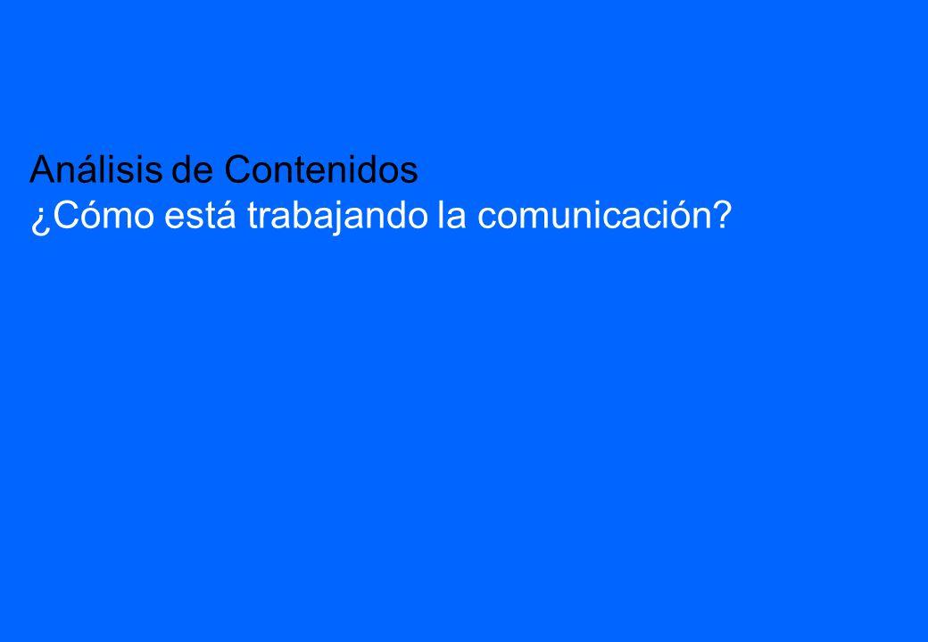 Análisis de Contenidos ¿Cómo está trabajando la comunicación