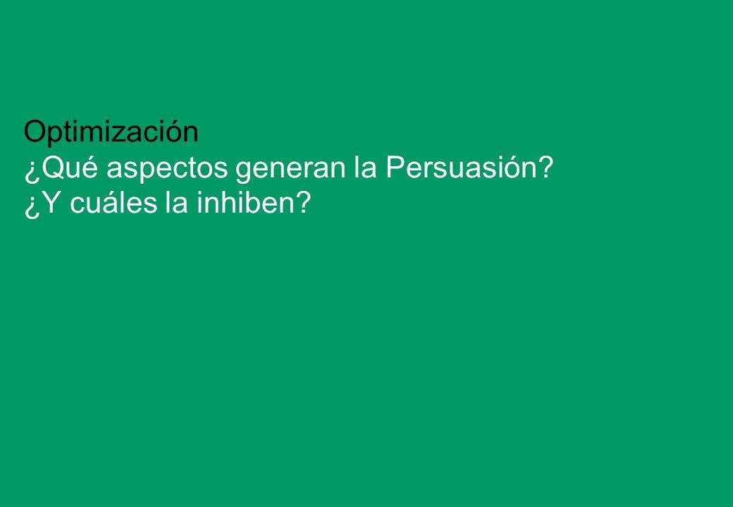 Optimización ¿Qué aspectos generan la Persuasión ¿Y cuáles la inhiben