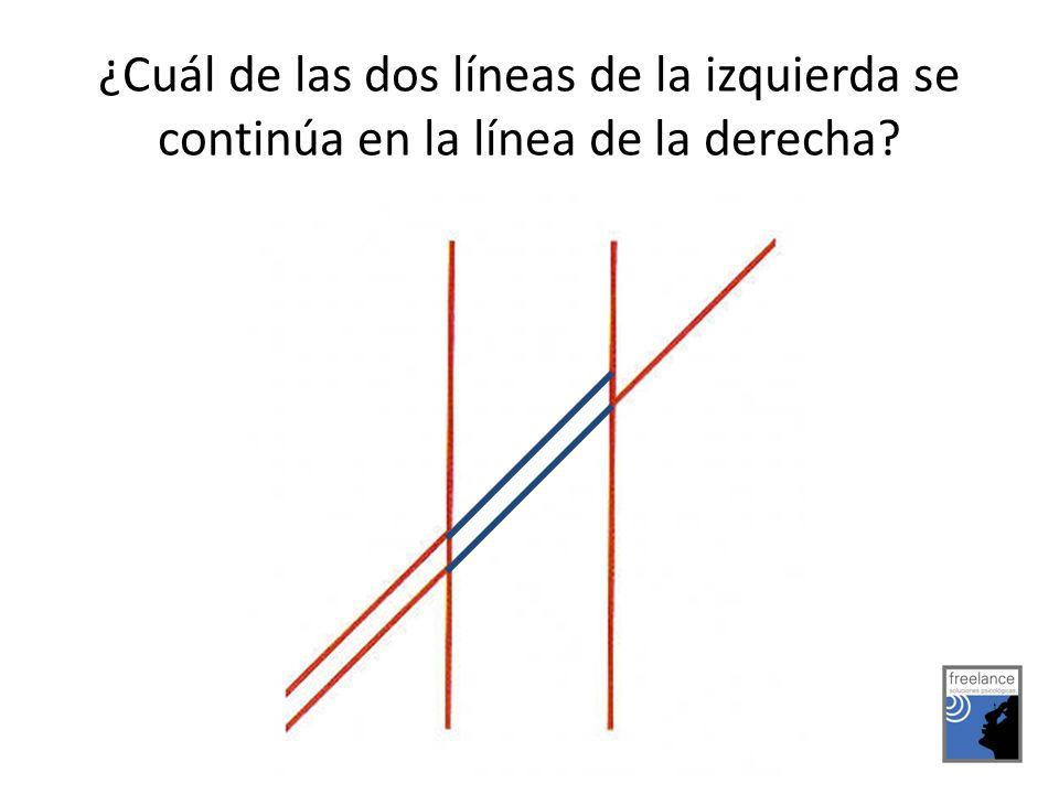 ¿Cuál de las dos líneas de la izquierda se continúa en la línea de la derecha