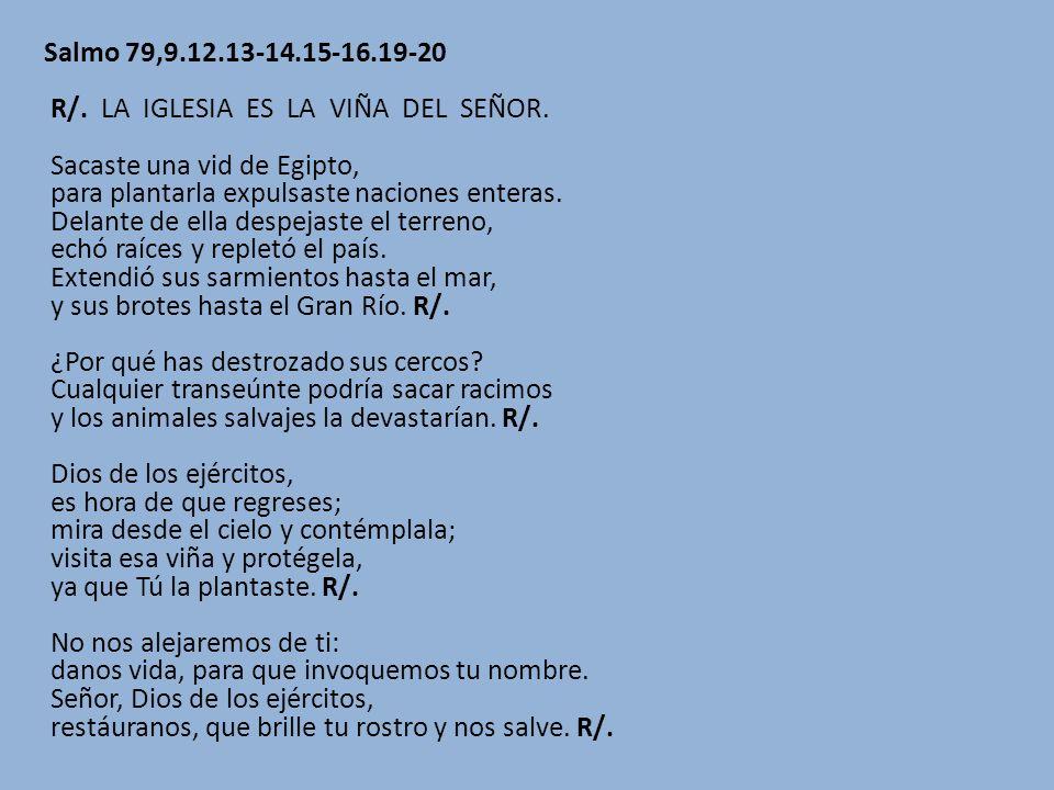 Salmo 79,9.12.13-14.15-16.19-20 R/. LA IGLESIA ES LA VIÑA DEL SEÑOR.