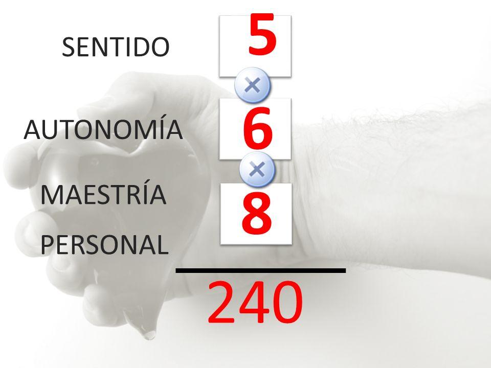 5 SENTIDO 6 AUTONOMÍA 8 MAESTRÍA PERSONAL 240