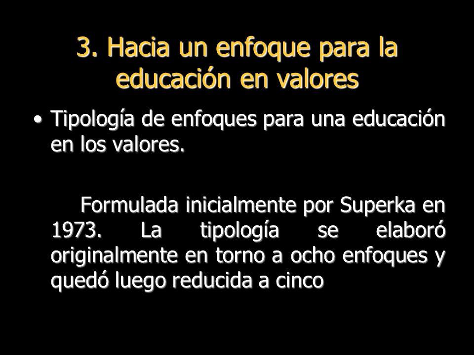 3. Hacia un enfoque para la educación en valores