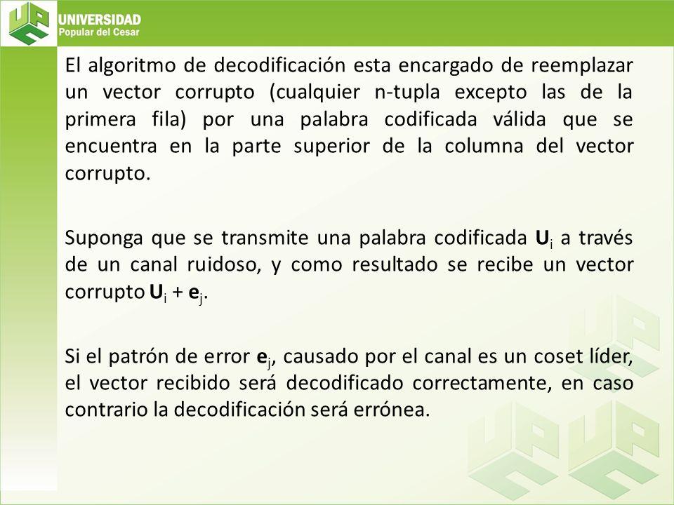 El algoritmo de decodificación esta encargado de reemplazar un vector corrupto (cualquier n-tupla excepto las de la primera fila) por una palabra codificada válida que se encuentra en la parte superior de la columna del vector corrupto.