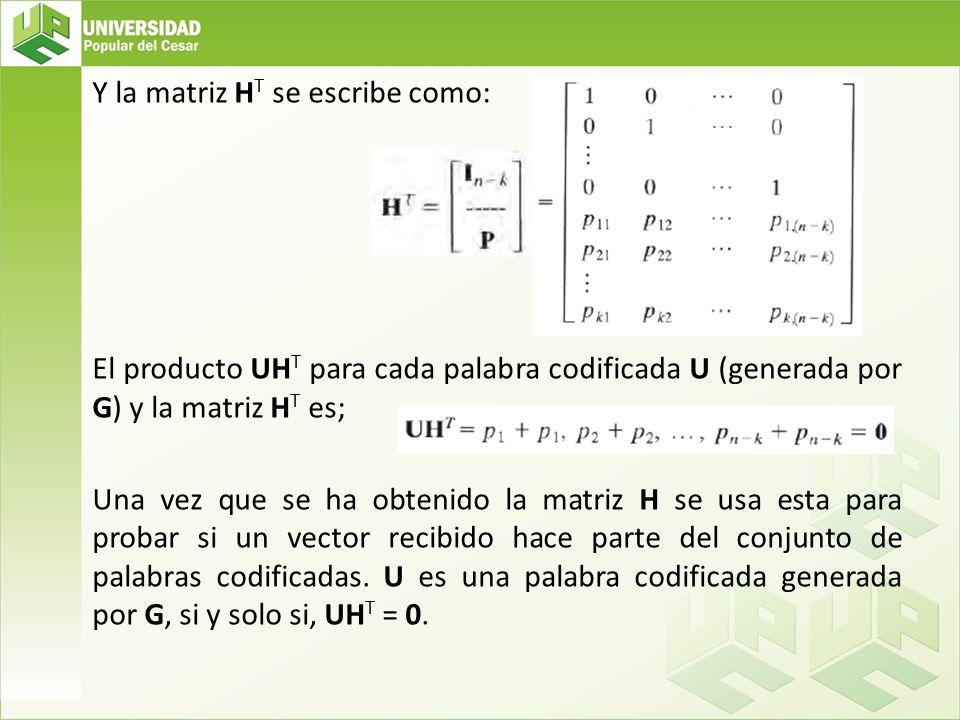 Y la matriz HT se escribe como: El producto UHT para cada palabra codificada U (generada por G) y la matriz HT es; Una vez que se ha obtenido la matriz H se usa esta para probar si un vector recibido hace parte del conjunto de palabras codificadas.