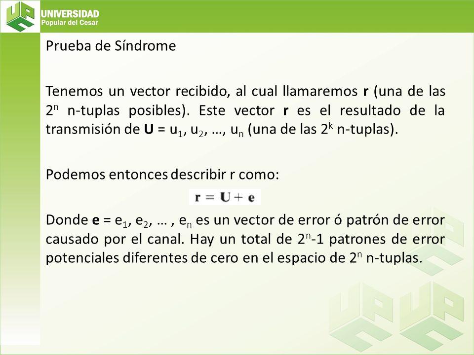 Prueba de Síndrome Tenemos un vector recibido, al cual llamaremos r (una de las 2n n-tuplas posibles).