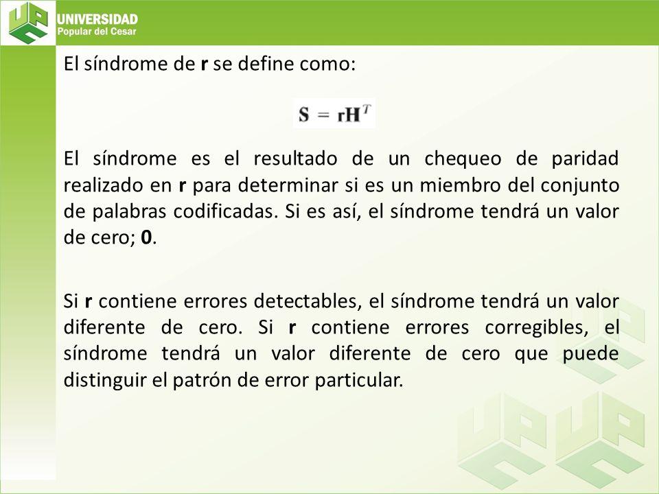 El síndrome de r se define como: El síndrome es el resultado de un chequeo de paridad realizado en r para determinar si es un miembro del conjunto de palabras codificadas.