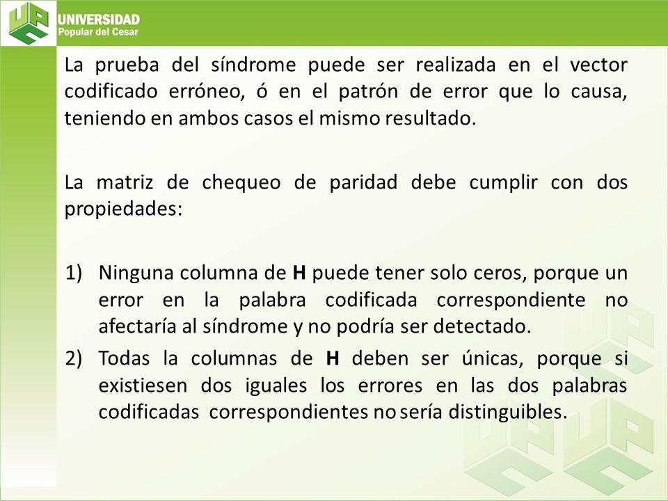 La prueba del síndrome puede ser realizada en el vector codificado erróneo, ó en el patrón de error que lo causa, teniendo en ambos casos el mismo resultado.