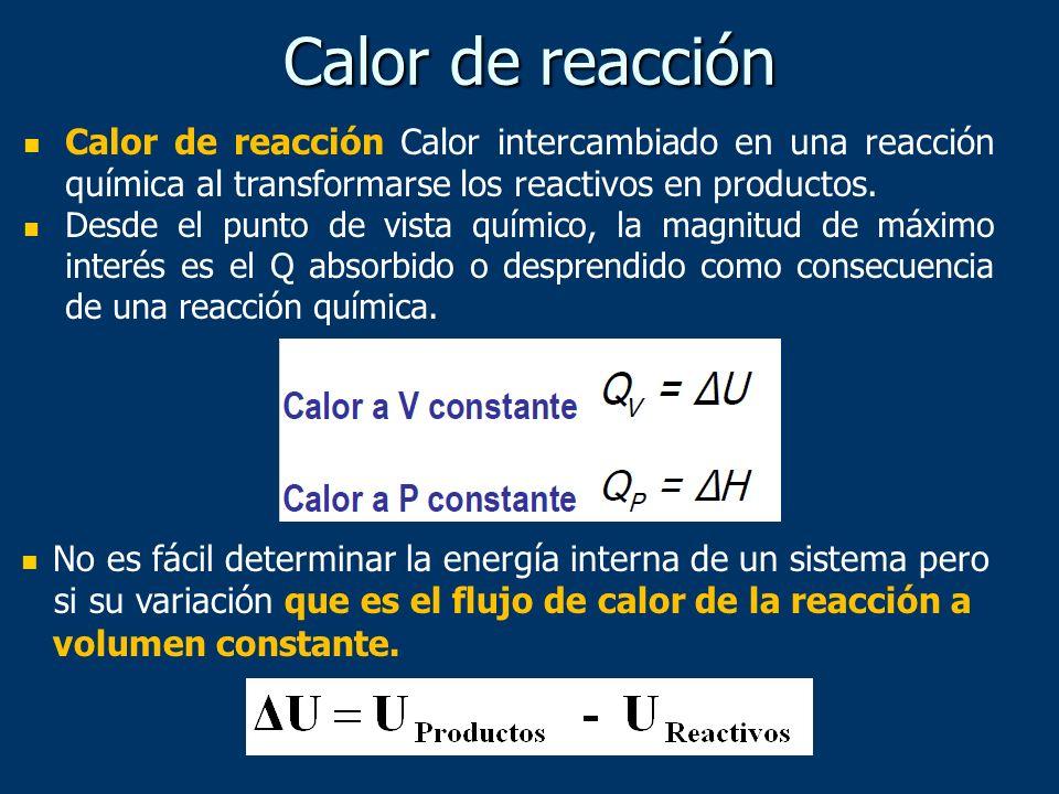 Calor de reacciónCalor de reacción Calor intercambiado en una reacción química al transformarse los reactivos en productos.