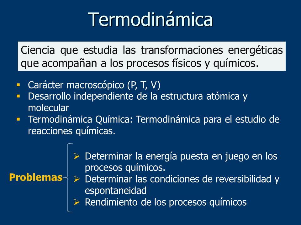 Termodinámica Ciencia que estudia las transformaciones energéticas que acompañan a los procesos físicos y químicos.
