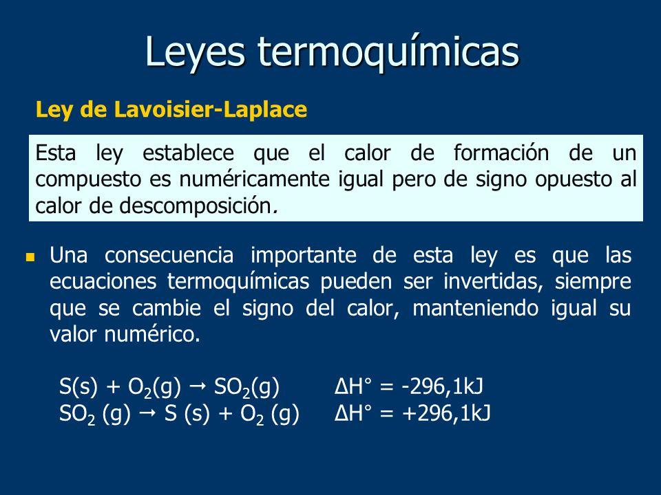 Leyes termoquímicas Ley de Lavoisier-Laplace