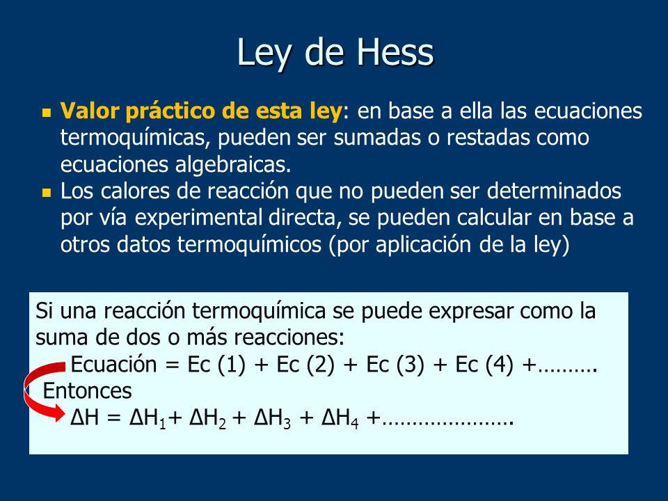 Ley de HessValor práctico de esta ley: en base a ella las ecuaciones termoquímicas, pueden ser sumadas o restadas como ecuaciones algebraicas.