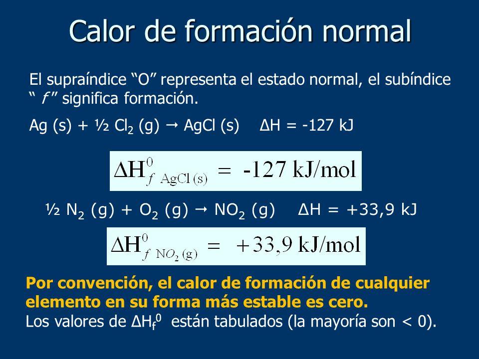 Calor de formación normal