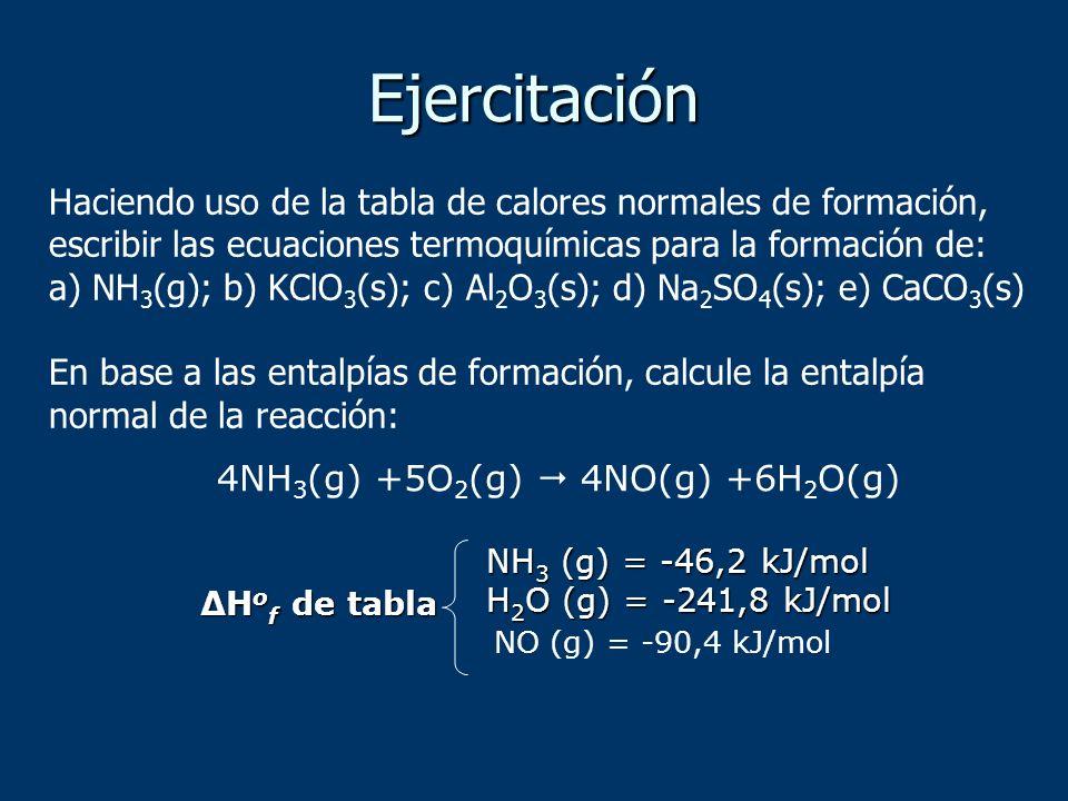 Ejercitación Haciendo uso de la tabla de calores normales de formación, escribir las ecuaciones termoquímicas para la formación de:
