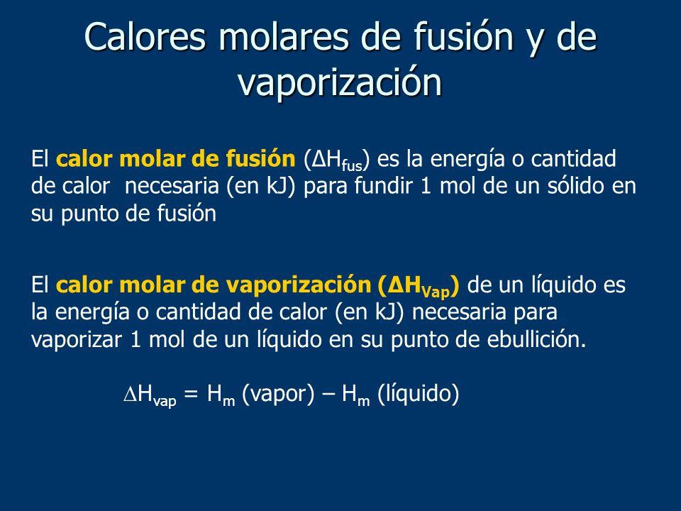 Calores molares de fusión y de vaporización