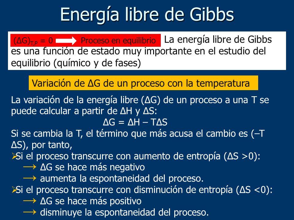 Energía libre de Gibbs La energía libre de Gibbs es una función de estado muy importante en el estudio del equilibrio (químico y de fases)