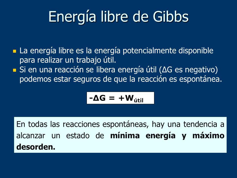 Energía libre de Gibbs La energía libre es la energía potencialmente disponible para realizar un trabajo útil.