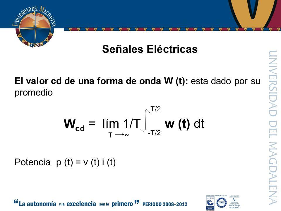 Wcd = lím 1/T w (t) dt Señales Eléctricas
