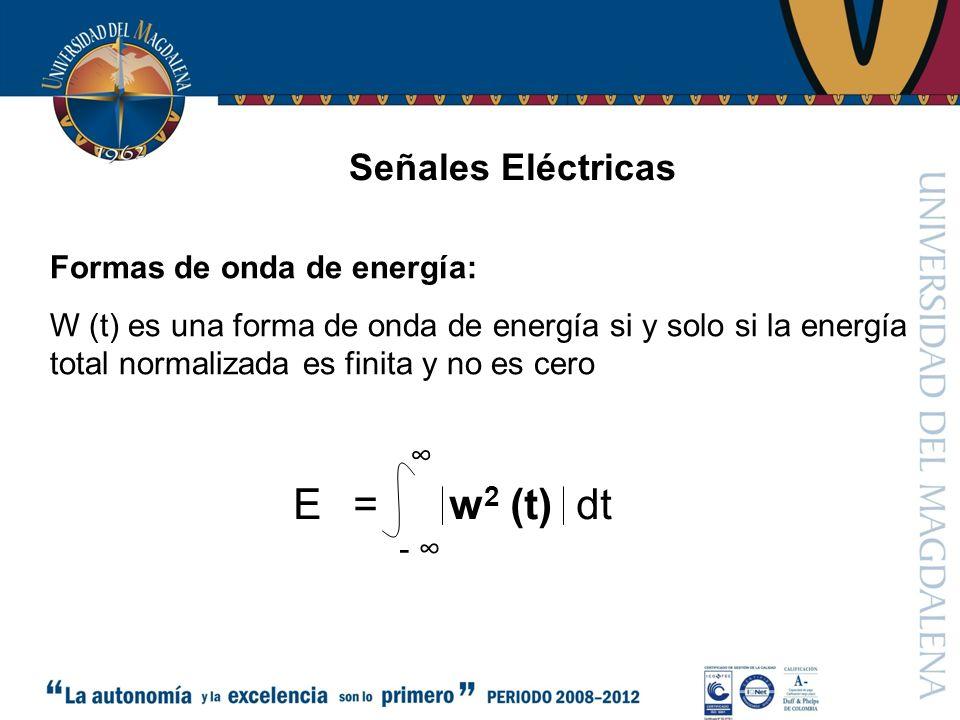 = w2 (t) dt E Señales Eléctricas Formas de onda de energía: