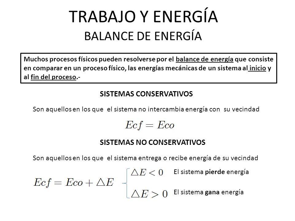 TRABAJO Y ENERGÍA BALANCE DE ENERGÍA SISTEMAS CONSERVATIVOS