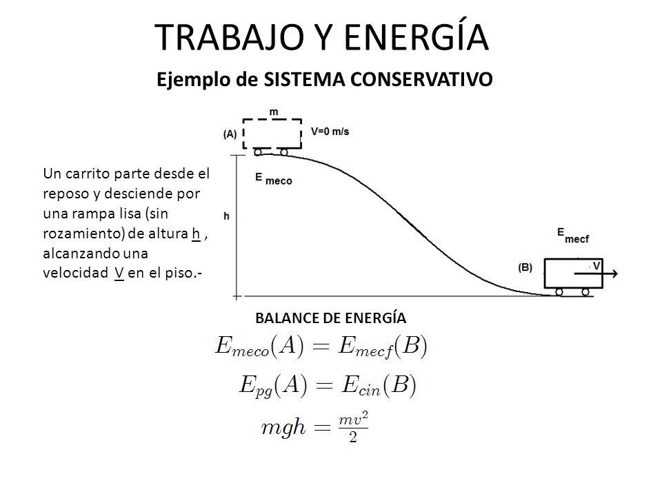 TRABAJO Y ENERGÍA Ejemplo de SISTEMA CONSERVATIVO