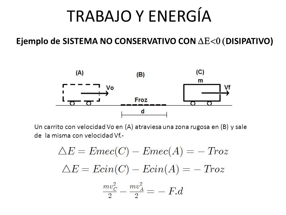 TRABAJO Y ENERGÍA Ejemplo de SISTEMA NO CONSERVATIVO CON DE<0 (DISIPATIVO)