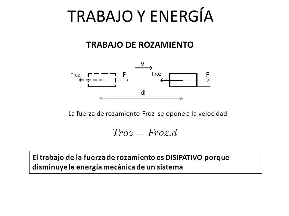 TRABAJO Y ENERGÍA TRABAJO DE ROZAMIENTO