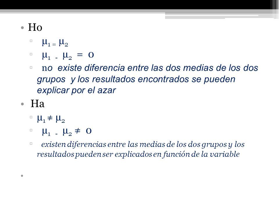 Ho µ1 = µ2. µ1 - µ2 = 0.